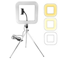 Wholesale makeup phone holder online – custom Dimmable LED Studio Camera Ring Light Phone Video Selfie Light Lamp With Tripod Phone Holder Table Fill Light For Studio Live Makeup Photo
