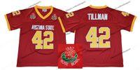 eski kaplar toptan satış-1997 Gül Kase Arizona Eyalet Sun Devis (ASU) Pat Tillman 42 Kolej Futbol Formalar Vintage Pat Tillman Bordo Dikişli Gömlek