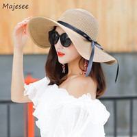Wholesale womens elegant hats for sale - Group buy Sun Hats Women Trendy Simple Bow Lovely Elegant Korean Style Daily Summer Casual Solid Straw Womens Female Girls Sweet Hat New