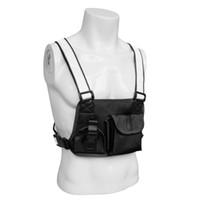 cinto de fita unisex venda por atacado-Tactical Reflective Strap Rádio Harness Peito Frente Bag Holster Rig Bag em dois sentidos de rádio Pack de bolso Unisex