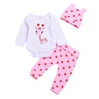 baby kleidung giraffen großhandel-Dreiteilige Kleidung Set Infant Dots Giraffe Hut Knopf Strampler Overalls Raw Edges Neugeborenes Baby Mädchen Designer Kleidung Outfit 1-3T