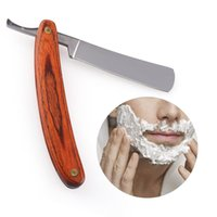 facas velhas venda por atacado-Vintage Velho Faca de Barbear Em Linha Reta de Aço Inoxidável Barbeiro Navalha de Dobramento Faca de Barbear Ferramentas de Remoção de Cabelo Punho De Madeira