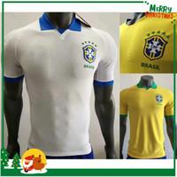 brazil dünya kupası formaları toptan satış-Oyuncu versiyonu 2019 2020 Brezilya dünya kupası Futbol Forması DAVID LUIZ MARCELO PAULINHO COUTINHO G.JESUS Paulinho WILLIAN 18 19 Futbol forması