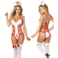 babydoll iç çamaşırı erotik toptan satış-Seksi Kadınlar Hemşire Babydoll Cosplay Seksi Hastane Kostüm Lingerie Sıcak Erotik Üniforma Hemşire Cosplay kostümleri kadın Bodysuit