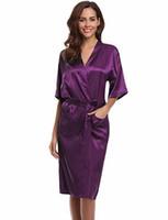 kimono morado femenino al por mayor-Púrpura para mujer Robe venta caliente de imitación de seda Kimono vestido de baño mujer Sexy albornoz camisón Mujer Pijama tamaño