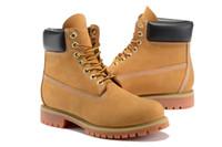 botas de marca auténticas al por mayor-Botas de madera de la tierra Auténtica marca Motocicleta Hombres Casual Botas de 6 pulgadas Premium Mujeres Impermeable al aire libre 10061 Trigo Nubuck botas tamaño 36-45