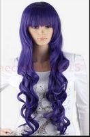 lila blaue mischperücke großhandel-WBY dd003028 Lange Charm Blue Mix Lila Wellig Volles Haar Perücken Cosplay Kostüm Perücke