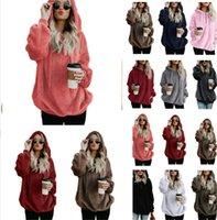 camisola com zíper com capuz feminino venda por atacado-S-5XL Mulheres Sherpa Hoodie velo suéter Outono-Inverno Quente Meio Zipper solto Oversized camisola com capuz revestimento roupa Designer