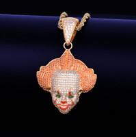 ingrosso collane di clown-Pendente rosso Emoji pagliaccio con corda catena oro argento colore bling zircone cubico uomini collana gioielli per regalo