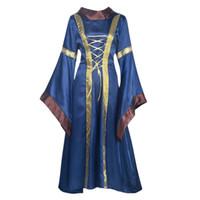 cosplay viktorianische kleider großhandel-Frauen mittelalterlichen viktorianischen Kleid Prom Ballkleid Cosplay Wench Halloween Kostüm Maxi Langarm Cape Kragen Hexe Renaissance