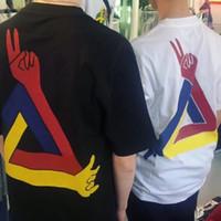 dedo de la camiseta de los hombres al por mayor-CAMISETA JSCD 19SS Camiseta con estampado de dedos Hombres Mujeres Camiseta de verano Camiseta deportiva casual simple de la calle Manga corta transpirable HFLSTX475