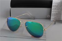 Wholesale aviators sunglasses blue lens resale online - 2019 Ray Brand Polarized Sunglasses Men Women Pilot Bans Sunglasses UV400 Eyewear Aviator Glasses Driver Metal Frame Polaroid Lens