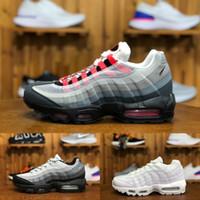 zapatillas grises azules al por mayor-Nike Air Max 95  2019 Barato Ultra OG X 20th Anniversary Men Running Sports Shoes New Air Cushion Black Sole Gray Blue Hombre Zapatillas de deporte de tenis Zapatillas de deporte