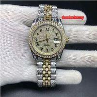 Wholesale stainless scale resale online - 36mm Men s Automatic Mechanical Watch Bi Gold Diamond Stainless Steel Wrist Watch Arabian Scale Fashion Hot Boutique Men s Watch
