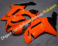 carenagem de motocicleta laranja preto venda por atacado-Carenagem preto laranja ZX 6R 2007 2008 para Kawasaki ZX-6R ZX 636 ZX6R 07 08 Peças de capota para carroçaria de motocicleta Fit (moldagem por injeção)