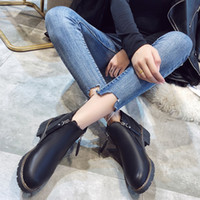 Wholesale thick sole round toe boots resale online - Hot Sale New British Wind Martin Boots Female Thick with Thick Sole Boots Students Round Head Plus Velvet Warm Boot Shorts