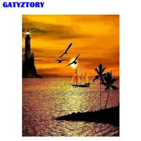 playa pintura al óleo enmarcada al por mayor-GATYZTORY Frame DIY Painting By Numbers Kit Beach Sunset Pintura acrílica por números Pintura al óleo pintada a mano para la decoración del hogar
