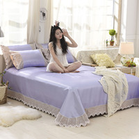 Wholesale cooling sheets bedding resale online - 3pcs set soft bed mat summer cool bedspread pc bed sheet pillowcase Lace Edge Bed cover Europe Princess coverlet set solid
