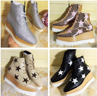 Wholesale toe strappy platform for sale - Women Leather Ankle Boots Stella Mccartney Star Creepers Shoes Rose Gold Strappy Wedges Platform Winter Flats Shoes Espadrilles Original Box