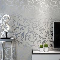 современные серые обои оптовых-Grey Classic  3D Floral Embossed Textured Wall Paper Modern Wallpaper For Living room Bedroom Home Decor