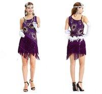 свадебные платья оптовых-Лето бохо фиолетовый Сексуальная латинский блесток танцевальное платье специальное предложение клуб одежда танцевальное платье женщины костюм Сальса платья дешевые cps1283