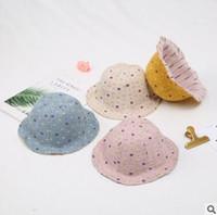 bebek yaz kovası şapkaları toptan satış-Karikatür Hayvan Paw Kepçe Şapkalar Yaz Yumuşak Pamuk Yaz Bebek Güneş Şapkası Bebek Erkekler Kızlar Kepçe Hat Pamuk Bebek Çocuk Traktör Cap