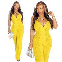mono amarillo para las mujeres al por mayor-Las mujeres mamelucos amarillos sexy con cuello en V traje de verano sin mangas bordados monos de una pieza