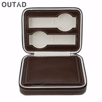 Wholesale slotted pin resale online - OUTAD Slots Watch Box Bag With Zipper Jewelry Leather Hardcover Pin Durable Portable Collection Storage Organizer Winder