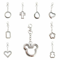 Wholesale random charms resale online - 1pc mm mouse flower cross water drop rectangle floating locket keychain floating memory living lockets with floating charms random