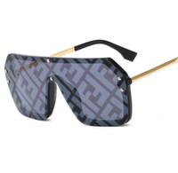 büyük olanlar toptan satış-Yeni 2019 F Mektup Ile Tek Parça Kare Güneş Kadınlar Boy Büyük Vintage Güneş Gözlükleri Erkekler Popüler Düz Üst Gözlüğü Gözlük UV400