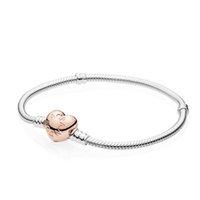 vente de breloques en or rose achat en gros de-2019 Vente Chaude Top Qualité Pandora Bracelets Avec Bricolage Brillant En Argent Sterling Rose Coeur Fermoir Lisse Iconic Silver Charms Avec Boîte d'origine