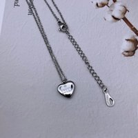 yazlık kolye toptan satış-3 renkler Ünlü Marka Tasarım Takı Moda 316L Paslanmaz Çelik gümüş Altın gül kalp kolye kolye uzun zincir Kadınlar yaz takı