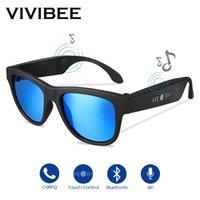 knochengläser großhandel-VIVIBEE Bone Conduction Sonnenbrille Music Zungle 2019 Trendprodukte Smart Men Bluetooth Women Polarized Audio Sun Glasses