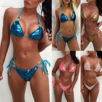 strass biquínis venda por atacado-2019 Swimwear Cristal Swimming Suit Para Mulheres Sequin Rhinestone Diamante Push Up Bikini Set Swimwear Swimsuit Ping