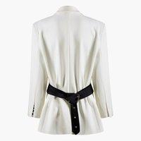 685cfec4d0 GETSRING Donna Cappotto Nero Bianco Colore corrispondenza Cintura Splice  Suit Donna Irregolare Allentato Casual Lungo Blazer Donna 2019 New Fashion