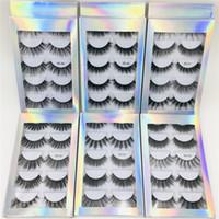 mejores pestañas falsas naturales al por mayor-Venta caliente mejor precio 5 Par Natural Grueso Ojos Sintéticos Maquillaje Falsas Pestañas Falsas Falsas Hechas A Mano con Caja Holográfica