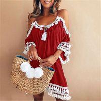 laço do vestido do desenhador backless venda por atacado-Designer de vestidos de verão spaghetti strap paneled borla dress backless solto vestido de renda feminina impressão quente
