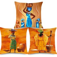 Wholesale handmade paintings girls for sale - Group buy African Lady Girl Oil Painting Cushion Cover African Culture Home Decorative Linen Pillows Cover for Sofa Chair Seat