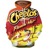 plus größe 3d drucken hoody groihandel-Flamin Hot Cheetos Hoodie Männer Frauen Sweatshirt Langarm Überall Gedruckt Pullover Hoody Tops Casual 3D Sweatshirt Plus Größe