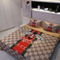 light orange tröster großhandel-MENGZIQIAN Leichte Luxusbettwäsche Bettdecken Sets Modedesigner King Size Bettwäsche Set Vier Teile Set Einfachen Stil Ice silk Bett Sets