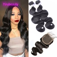 Wholesale one piece products for sale - Group buy Malaysian Human Hair A Body Wave Bundles With X5 Lace Closure Baby Hair Pieces One Set Double Wefts Hair Products With Closure