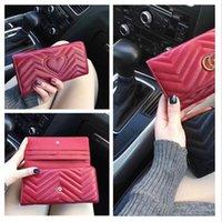 Wholesale lady famous designer wallet for sale - Group buy New Women Wallet Marmont Famous Designer Pu Leather gûccì Single Zipper Ladies Long Purse box