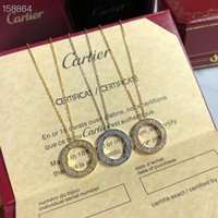 Wholesale custom round boxes resale online - 2020new sterling silver3D Cartier classic love double sided round cake necklace high end custom with original box