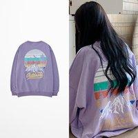 sudadera púrpura al por mayor-Ins estilo de la moda Color Púrpura sudaderas Montaña Imprimir sudaderas con capucha de Hip Hop del monopatín pareja de amantes de la camiseta de los hombres Ulzzang