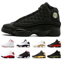 kedi adında toptan satış-Üst 13 s Erkekler Retro Basketbol Ayakkabıları Siyah Kedi Getirdi adı Gri Ayak Melo Sınıf 2003 Spor Ayakkabı Tasarımcısı Atletizm Sneakers