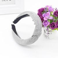 kafa bandı çember kadınları toptan satış-Büküm Kore Kadife Kafa Kadınlar 2018 Yay Düğüm Çapraz Kravat Hairband Vintage Saç Hoop Kız Katı Harajuku Renkli Yeni # 9