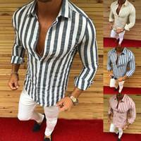 chemise habillée élégante achat en gros de-Chemises pour hommes nouvelle marque mode hommes luxe élégant rayé bouton Casual Dress chemises à manches longues Slim Fit chemises hommes chemise Tops