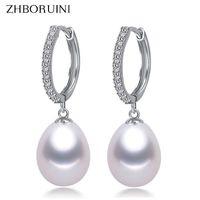 perlas genuinas para la boda al por mayor-Gota ZHBORUINI 2019 Pendientes Genuinos de agua dulce naturales 925 Pendientes de plata esterlina Joyas de perlas para Wemon Regalo de boda