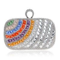 ingrosso borse viola nozze-Dgrain Socialite Crystal Beaded Women Purple Satin Colorful Evening Bags Fashion Wedding Party Metal Day frizioni borsa della borsa