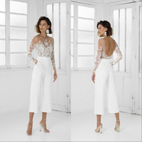 Wholesale new tea shirt for sale - Group buy New Vintage White Women Jumpsuit Prom Dresses With Long Sleeves Tea Length Formal Party Evening Gowns Custom Made Special Occasion Dress